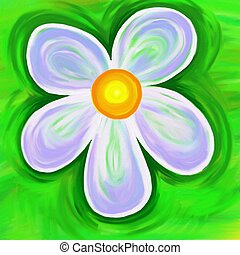 painted flower - simple painted daisy flower textured canvas...