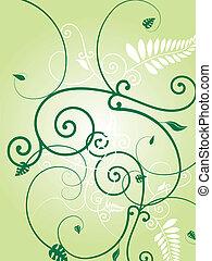 floral green burst - Illustration of a floral wallpaper...