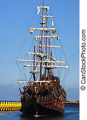 Old sailing-ship, summer holidays, concept