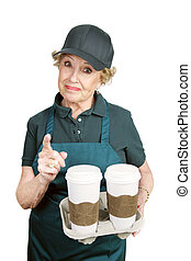 Senior Worker - Confrontation - A senior worker in a coffee...