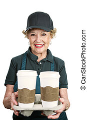 Senior Worker - Coffee Server - A pretty senior lady working...