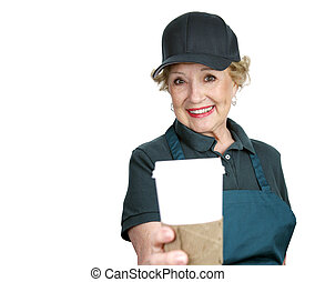 Senior Worker - Service With Smile - A pretty senior lady...