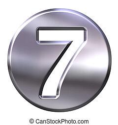 3D Silver Framed Number 7