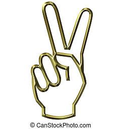 vitória, mão, sinal