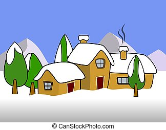 Winter Illustration - Colorful clipart of winter scene in...
