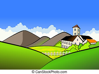 Village In Mountains - Small village and farm in mountains...