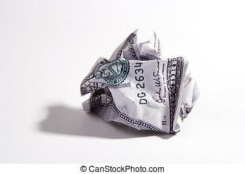 Crumpled Money - A crumpled one hundred US dollar note
