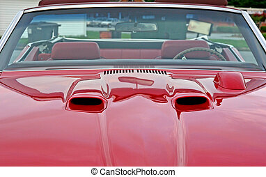 Hood Scoops - Hood scoops on a red classic muscle car