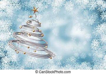 Christmas background - Christmas tree on snowflake...