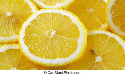 Lemon slices background, close-up