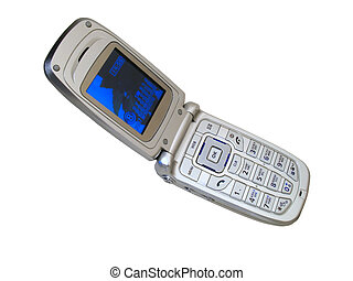 Open Cellular Phone isolated - Open Cellular Phone on a...