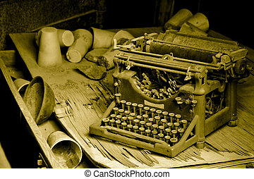 Antique Typewriter - An old lonely typewriter that is not...