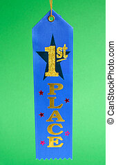 Award - Blue ribbon showing the first place winner
