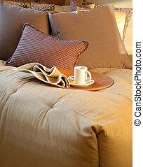 Bedroom Interior with coffee mug on tray