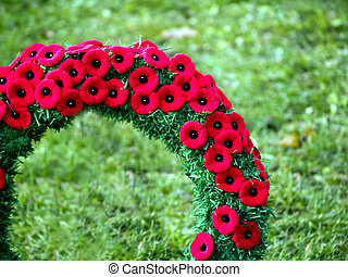 Close up of poppy wreath - close up of a poppy wreath on...