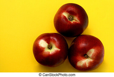 Red Nectarines - fresh ripe red nectarines on bright yellow...
