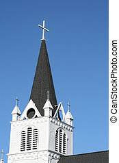 Church Steeple - White church steeple on a perfect blue sky.