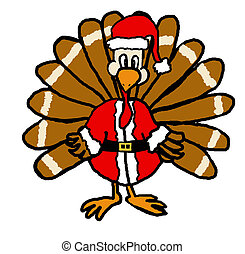 Santa Turkey - A drawing of a turkey in a santa suit Cute...