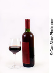 wine glass and bottle - red wine glass and bottle isolated...