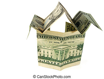 dollar house isolated on white with clipping path