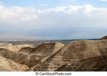 Judea desert with wiev over the Dead Sea and Jordan