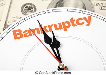 concept of bankruptcy - clock face, concept of bankruptcy,...