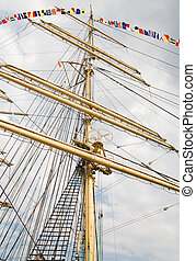 rigging of big sailing ship - photo taken in Szczecin during...