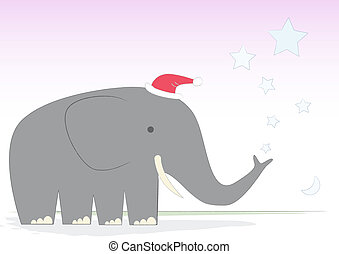 Christmas Elephant on a d - Mr Elephant creates a Christmas...