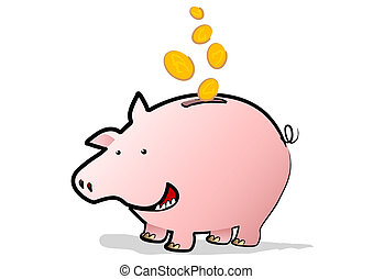 Happy Piggy Bank - A Happy Piggy Bank saving coins falling...