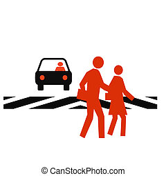 crosswalk safety - pedestrians in a crosswalk with traffic...