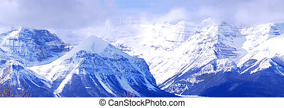 Snowy mountains - Snowy mountain ridges in Canadian Rockies,...