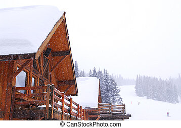 Mountain lodge - Wooden mountain lodge at downhill ski...
