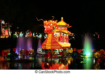 Dragon and fountains - dragon and fountains during chinese...