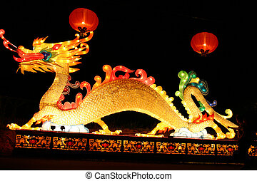 Dragon and lanterns - dragon and lanterns during chinese...