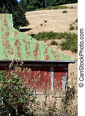 Side of old red barn