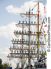 before leaving the harbour - rigging of big sailing ship -...