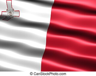 Flag of Malta - Computer generated illustration of the flag...