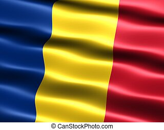 Flag of Romania - Computer generated illustration of the...