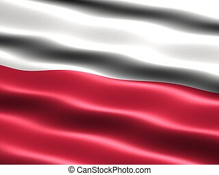Flag of Poland - Computer generated illustration of the flag...