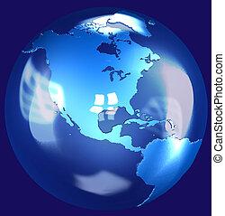 Blue Glass Earth Globe