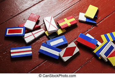 Building blocks - Colorful wooden building blocks in...