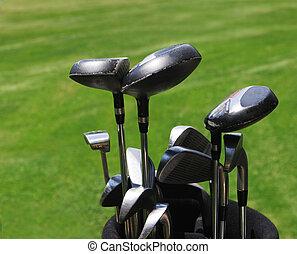 Golf clubs - Close-up of a set of golf clubs.