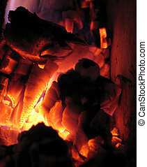 Coal on fire 2 - Coal on fire in a hot fireplace