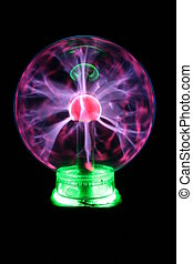 plasma ball with green neon lights