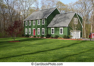 Green House 2 - A large green colonial home on a large yard...
