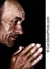 antigas, homem, Retrato, orando
