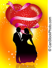Bride And Groom 2 - bride and groom are silhouetted within a...
