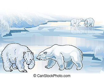 Polar Bear On Ice 3 - Illustration of polar bear on ice flow...