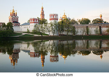 Novodevichy convent in the early morning view from the lake...