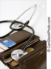 moneys health - Brown card holder with a stethoscope...